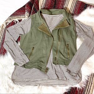 Olive Green Military Style Vest with Gold Studs